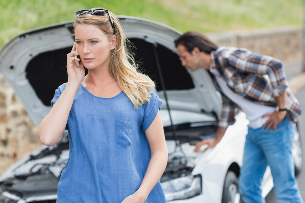 a couple is calling for roadside assistance