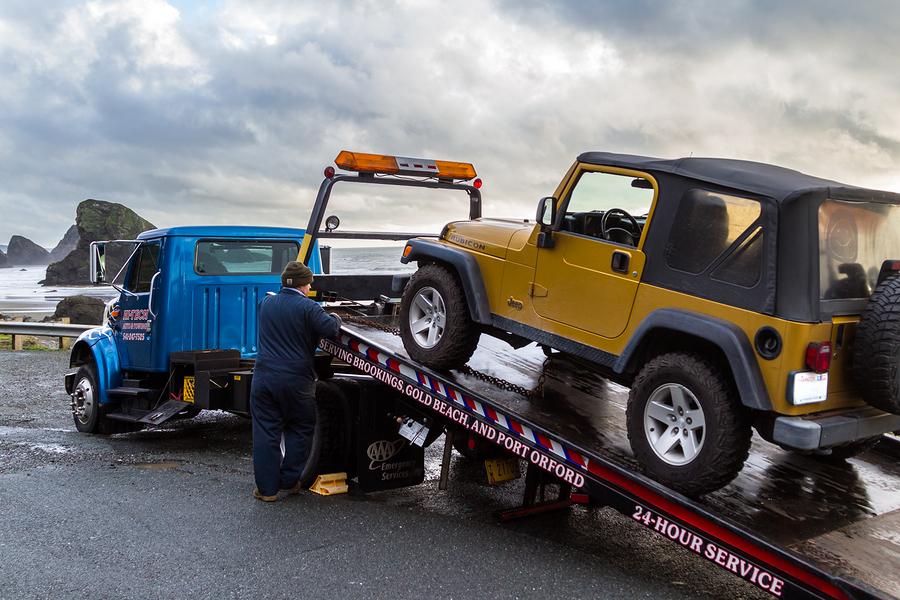 towing truck service in progress